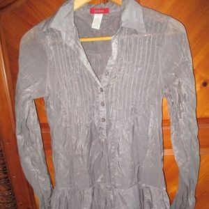 Ceres Gray Shimmer Collar Blouse sz M
